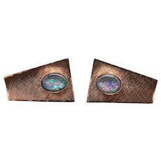 9k Yellow Gold Cabochon Multi Color Opal Doublet Cufflinks Cuff Link Shirt Studs