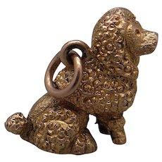 9k Yellow Gold 3D Poodle Dog Puppy Charm Pendant English Hallmark European