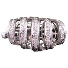 Dazzling 14k White Gold Single Strand 1ct Diamond Necklace Clasp