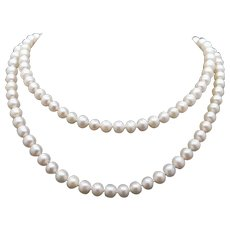 Classic 14k Yellow Gold 6mm Fresh Water Cultured Pearl Necklace 24 inch Strand