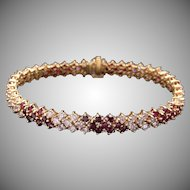 Incredible 18k Yellow Gold 7.91ct Ruby Diamond Tennis Link Flower Bracelet 6.5 inch