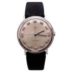 Vintage Mens Hamilton Thin 14k White Gold Diamond Dial Manual Watch 687A