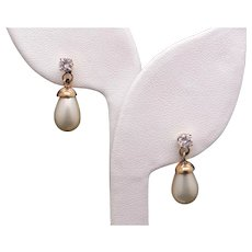 14k White Gold 12mm White Cultured Pearl .50ct Round Diamond Dangle Drop Earrings