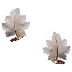 Exceptional 14k Yellow Gold Carved Rock Crystal Ruby Diamond Flower Leaf Stud Clip Earrings