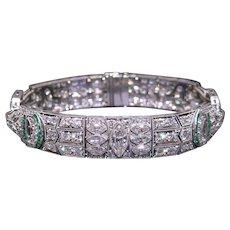 Magnificent Deco Platinum 11ct Marquise Round Cut Diamond Emerald Filigree Bracelet 7 inch