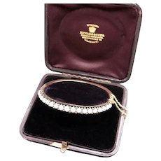 Victorian Edward & Sons Glasgow 15k Yellow Gold Graduated Pearls And Rose Cut Diamond Bangle Bracelet With Safety Chain