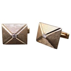 14k Yellow Gold .30ct Round Diamond Cufflinks Cuff Link Dress Shirt Studs