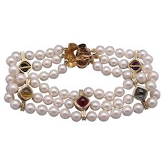 Spectacular 14k Yellow Gold Triple Strand 5mm Round Cultured White Pearl Multi Stone Bracelet 7 inch