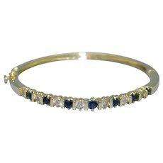 Amazing 14k Yellow Gold 1.50ct Sapphire Diamond Cuff Bangle Bracelet 6.5 inch