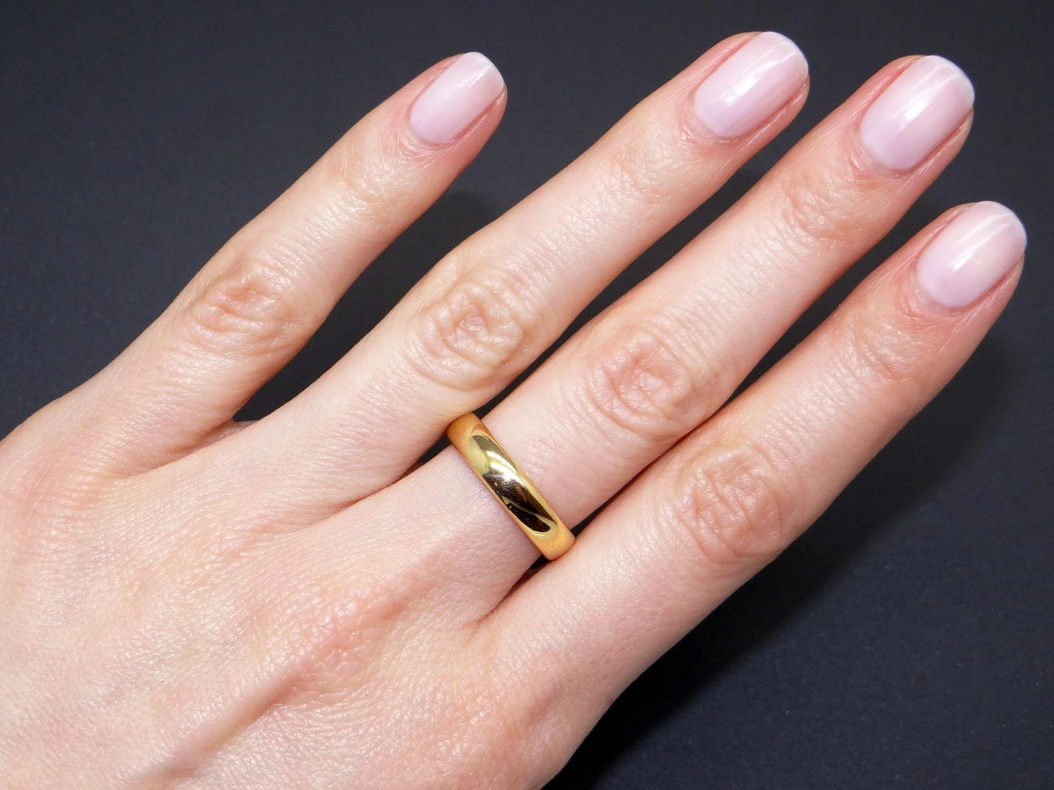 Vintage Tiffany & Co 22k Yellow Gold 4mm Wedding Band Ring Size 5.5 ...