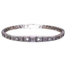 Art Deco Platinum 14k White Gold .48ct Round European Cut Diamond Filigree Bracelet