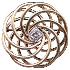 Vintage Tiffany & Co 14k Yellow Gold .25ct Round Diamond Love Knot Brooch Pin
