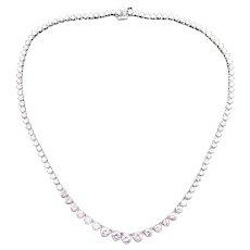 Gorgeous Platinum 7ct Round Diamond Graduated Tennis Link Necklace 14.75 inch H SI-1