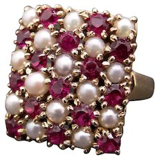 Retro 14k Yellow Gold 1.50ct Round Cut Ruby Cultured Pearl Cluster Band Ring Size 6