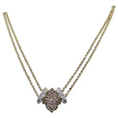 14k Yellow Gold .60ct Diamond Cluster Slide Love Necklace Double Rope Chain 23 Inch