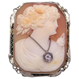 Filigree 14k White Gold Carved Shell Cameo Woman Wearing Diamond Pendant Brooch Pin