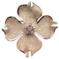 Vintage 14k Yellow Gold .15ct Round Diamond Four Leaf Clover Flower Brooch Pin Pendant