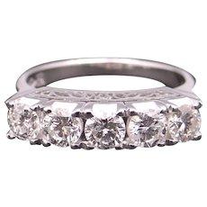 Stunning Platinum 1.06ct Round Cut Diamond 4mm Wedding Band Stack Anniversary Ring Size 6.25