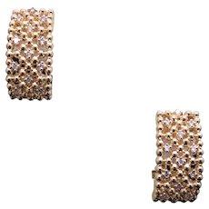 Exceptional 14k Yellow Gold .48ct Round Diamond Hoop Huggie Earrings Dangle Drop