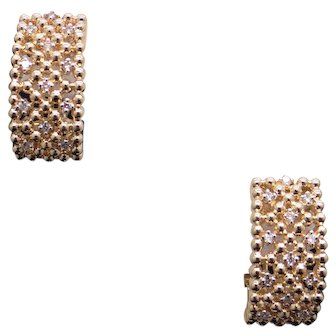 Exceptional 14k Yellow Gold .48ct Round Diamond Hoop Huggie Earrings Dangle Drop