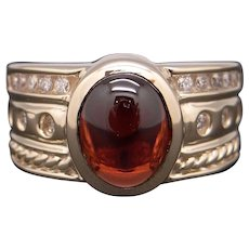 14k Yellow Gold 2.38ct Cabochon Cut Garnet Diamond Cluster Band Ring Size 6.25