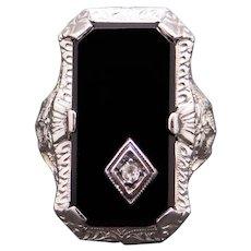 Art Deco 14k White Gold Round Diamond Rectangular Onyx Filigree Band Ring Size 4.5