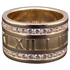 Vintage Gorgeous Tiffany & Co Roman Numeral Atlas Round Diamond Band Ring 12mm Size 6.5