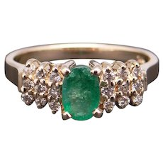 14k Yellow Gold .54ct Oval Cut Emerald Diamond Band Ring Size 5