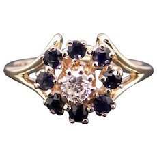 Adorable 14k Yellow Gold .55ct Round Diamond Sapphire Halo Cluster Ring Size 5