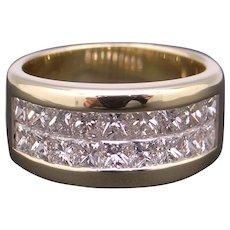 Estate vintage 18k Yellow Gold 1.50ct Princess Cut Diamond 9mm Wedding Band Ring Size 6