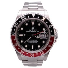 Rolex GMT Master II Date Automatic Stainless Watch Black Red Coke Bezel 16710