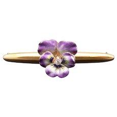 Art Nouveau Multi Color Enamel 18k Yellow Gold Diamond Pansy Flower Brooch Pin