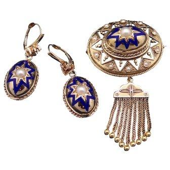 Deco Era 14k Yellow Gold Cultured Pearl Blue Enamel Dangle Drop Earrings Brooch Pin Pendant Set