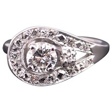 Dazzling 14k White Gold .74ct Round Diamond Cluster Band Ring Size 6.5