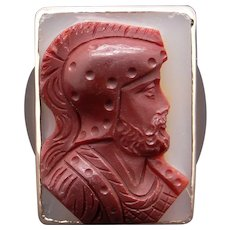 Amazing 10k Yellow Gold Men's Carved Carnelian Intaglio Cameo Solider Ring Size 10