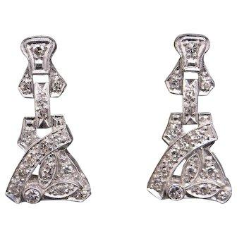Stunning Art Deco Platinum .64ct Round Cut Diamond Dangle Earrings Chandelier With Push Backs