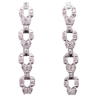 Exquisite Art Deco Platinum 1ct Round Cut Diamond Link Dangle Drop Chandelier Earrings