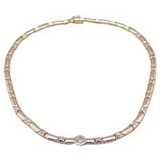 Dazzling 14k Yellow Gold 1ct Round Diamond Bezel Link Chain Necklace 16 inch