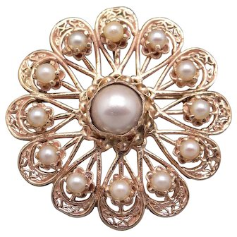 Retro Estate 14k Yellow Gold Cultured Pearl Flower Leaf Brooch Pin Pendant