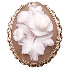 Retro Era 14k Yellow Gold Carved Shell Cameo Flower Brooch Pin