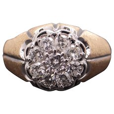 Mens 14k Yellow White Gold 1ct Round Cut Diamond Cluster Band Ring Size 13
