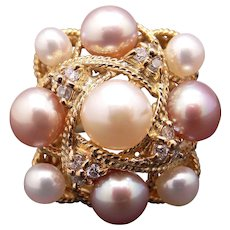 Exceptional 18k Yellow Gold 6.5mm Cultured Pearl .17ct Round Diamond Cluster Ring Size 6