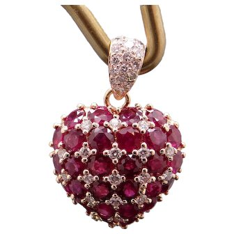 Exquisite 18k Yellow Gold 4.76ct Round Ruby Diamond Puffed Heart Love Cluster Pendant