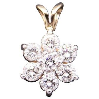 Dazzling 14k Yellow Gold 1ct Round Diamond Flower Cluster Pendant