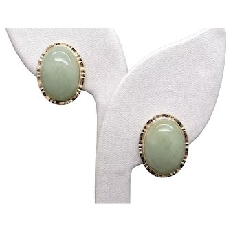 14k Yellow Gold Oval Cabochon Green Jade Button Stud Earrings