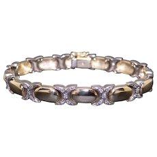 Charming 14k Yellow White Gold 1ct Round Cut Diamond Pave Tennis X Link Bracelet 7 inch