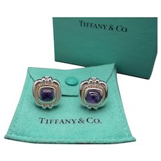 Vintage Tiffany & Co 18k Gold Silver 4ct Cabochon Amethyst Button Earrings Sugarloaf