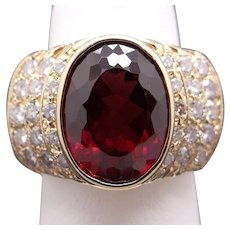 Stunning 14k Yellow Gold 8.25ct Oval Cut Garnet Diamond Halo Cocktail Cluster Ring Sz 6