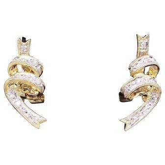 Adorable 14k Yellow Gold .22ct Round Diamond Swirl Ribbon Cluster Stud Drop Earrings Non-pierced
