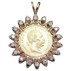 Austrian 1915 Franc IOS I D G Avstriae Imperator Gold Coin 1ct Diamond Pendant
